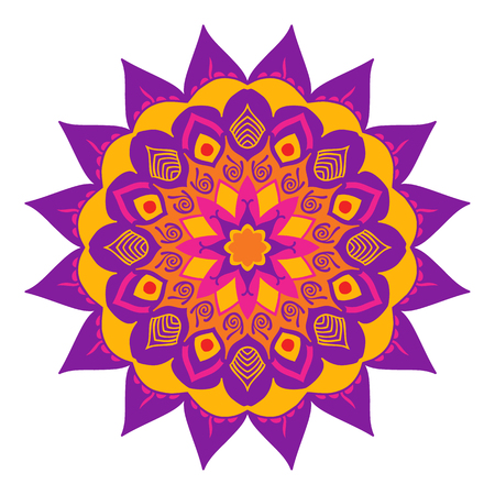 gamma: Mandala of colored traditional Indian elements lilac yellow gamma. Illustration
