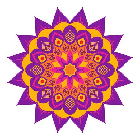 gamma: Mandala of colored traditional Indian elements lilac yellow gamma. Illustration