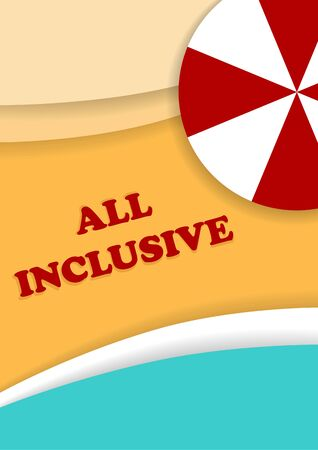inclusive: All inclusive leaflet. Summer, beach, resort, vacation brochures. Template size A4, A5. Ready to Print. Front page and back page.