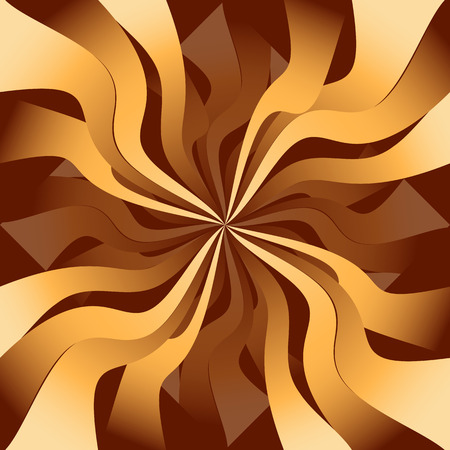 illusory: Radial pattern with curved lines radiating from the center to the illusory effect of 3D in warm chocolate tones.
