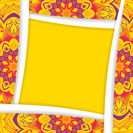 new year photo frame: The square frame with elements of the mandala in yellow.