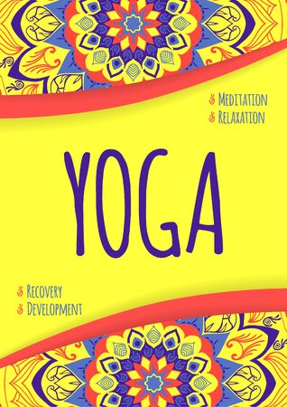 Yoga flyer with a striking design and a mandala. Promotional flyer yoga studio.