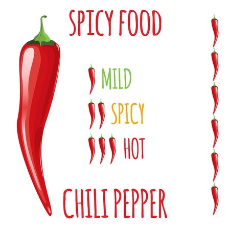 mild: Chili Red hot peppers. Degree of severity: hot, spicy, mild. Illustration