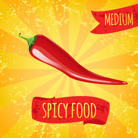 Spicy food. Red medium chili peppers. Spicy seasonings and dishes.