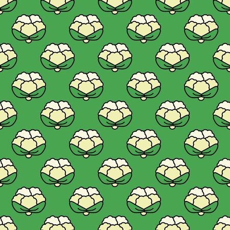 fortified: Seamless pattern cauliflower on a green background. Illustration