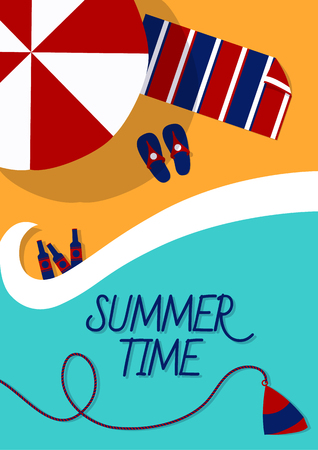 resorts: Leaflet on a summer theme of the sea. Beach vacation resorts. Ready to Print. Illustration