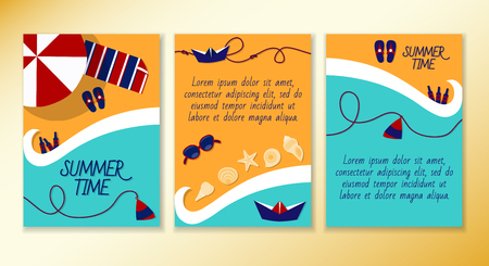 resorts: Set of leaflets on a summer theme of the sea. Beach vacation resorts. Ready to Print. Front page and back page. Illustration