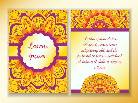 esoterics: Flyer with a colorful design of mandala yellow, violet and purple. Template size A4, A5. Ready to Print. Front page and back page. Illustration