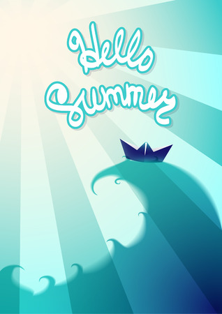 Hello Summer Leaflet With Waves, Sky And Rays. The Summer Theme Vacation.  Ready