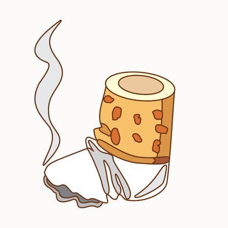 Cigarette butt colored illustration for design. Illustration