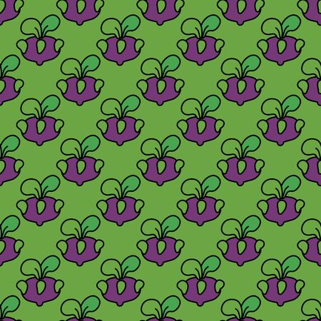 fortified: Seamless pattern purple kohlrabi cabbage on a green background.