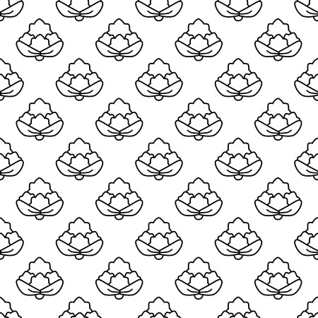fortified: Seamless pattern cauliflower contour on a white background. Illustration