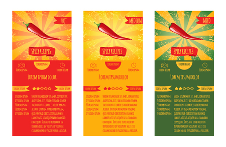 severity: Three leaflets design recipes spicy dishes. Degree of severity: hot, spicy, mild.