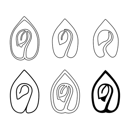 germinate: Set of leaves design elements. Sprout green leaves symbol vector icon set.
