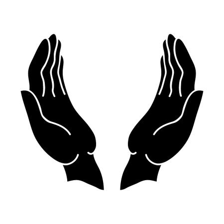 Öffnen Sie die Hände schwarz-Symbol auf weißem Hintergrund.