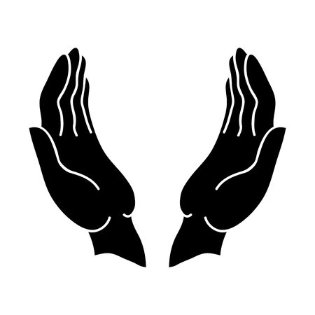 Open hands black icon on a white background.