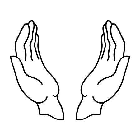Open hands Linear icon with a black outline. Illustration