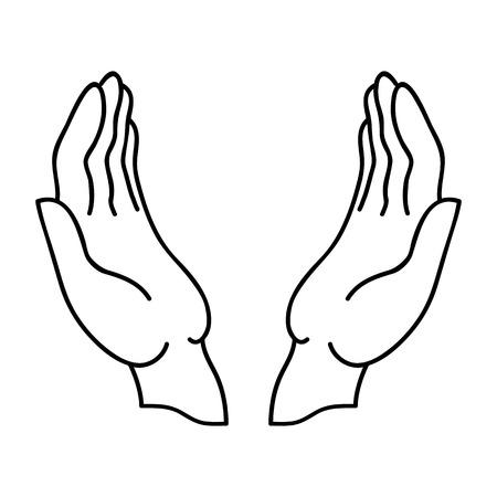 Open handen Linear pictogram met een zwarte rand. Stock Illustratie
