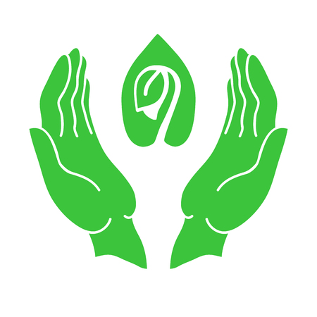 openness: Hands and sprout green icon. Eco-design, environmental protection concept.