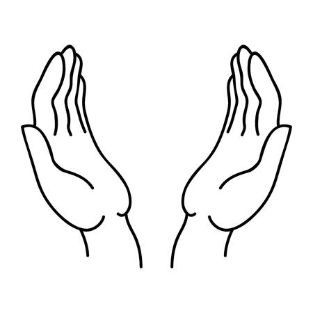 Abrir las manos icono lineal con un contorno negro.