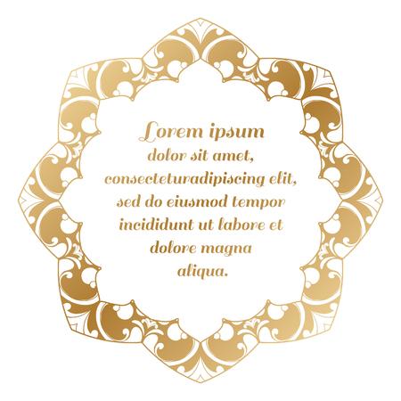 Rond frame goud kleur. Grens van barokke krullen.