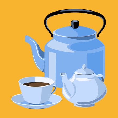 cup and saucer: Cup, saucer, teapot and kettle. Tea party.
