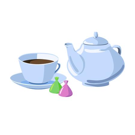 Tasse Tee oder Kaffee auf einer Untertasse, einer Teekanne und Schokoladen.