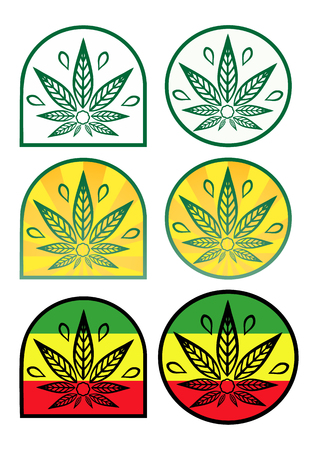 rastaman: A set of logos with hemp. Colored icons with cannabis in a flat style. Illustration