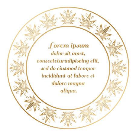 golden daisy: Round golden border of cannabis. Hemp monochrome frame.