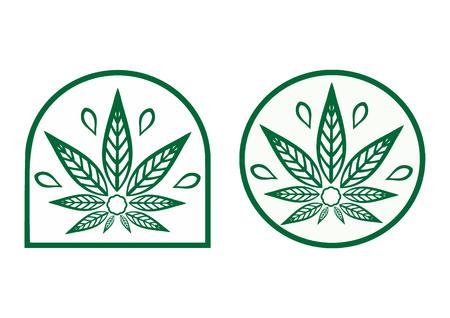 simple logo: Cannabis logo. Hemp is a simple monochrome icons. Illustration