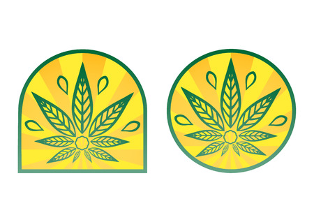 simple logo: Cannabis logo. Hemp simple icons on yellow radial background. Illustration