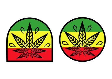 simple logo: Cannabis logo. Hemp background simple icons on rastaman flag. Illustration