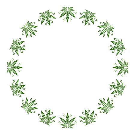 様式化された大麻葉の丸い緑のフレーム。  イラスト・ベクター素材