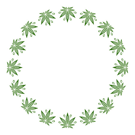 Round green frame of stylized cannabis leaf.