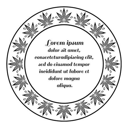 Frontière ronde du cannabis. Chanvre cadre monochrome. Banque d'images - 57328460
