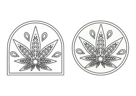 rastaman: Cannabis logo. Hemp Line icons. Illustration