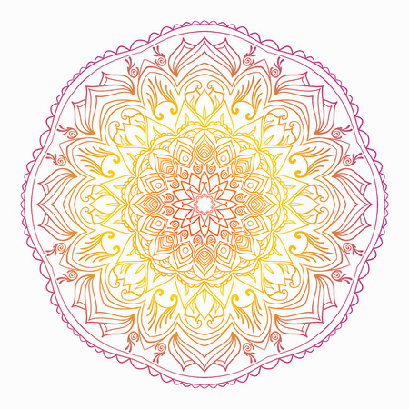 Mandala of colored traditional Indian elements yellow orange range.