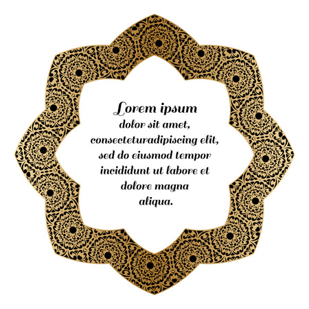 eastern spirituality: Decorative round element with a gold baroque pattern.