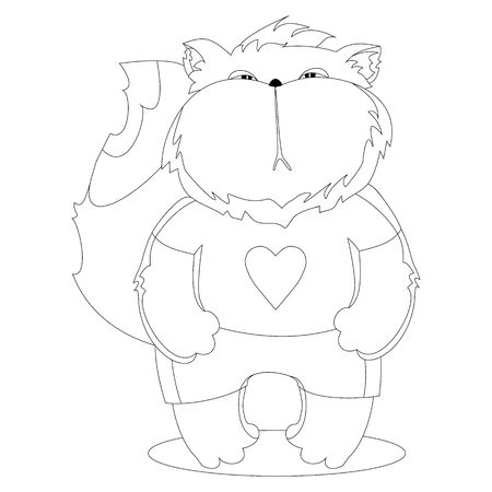 funny pictures: Serious cat in the clothes. Cartoon character. Outline drawing for coloring.