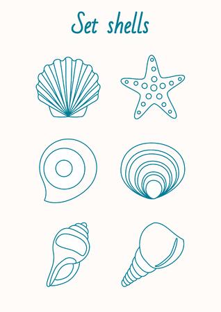 dessin au trait: Ensemble de hells et �toiles de mer contour dessin Illustration