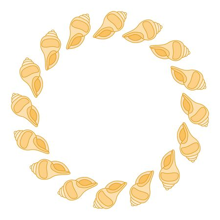Round frame from shells in pastel tones vector illustration.