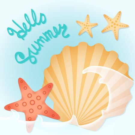 wave hello: Seashells, starfish, azure surf. Lettering: hello summer. Illustration on the summer theme.