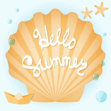 wave hello: Seashells, starfish, paper boat, azure surf. Lettering: hello summer. Illustration on the summer theme.