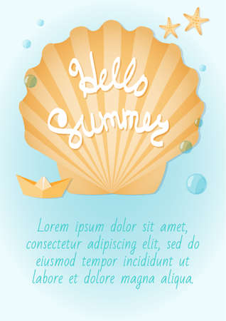 paper boat: Leaflet on the summer theme. Seashells, starfish, paper boat, azure surf. Lettering: hello summer. Ready to Print.
