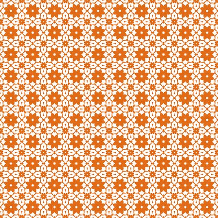 nuvo: Seamless color pattern with abstract geometric design. Retro Wallpaper. Vintage seamless pattern. White and orange ornament.