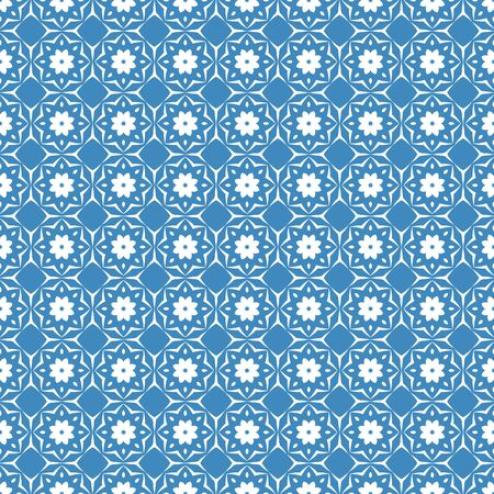 nuvo: Seamless color pattern with abstract geometric design. Retro Wallpaper. Vintage seamless pattern. White and blue ornament.