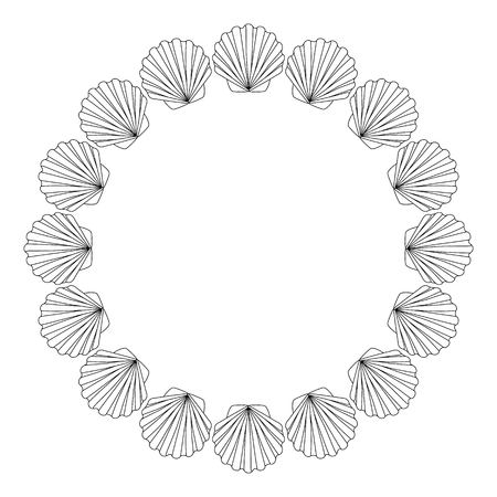 kurta: Round frame from shells outline drawing for coloring.