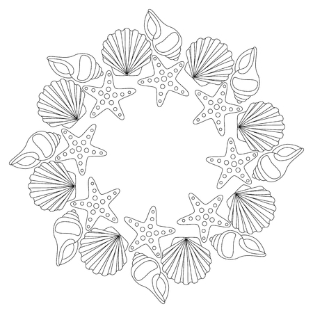 kurta: Round frame from various shells outline drawing for coloring. Illustration