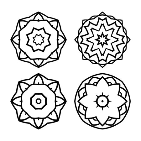 centric: Set of round decorative elements for design.