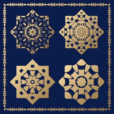 orthogonal: Set of orthogonal gold decorative elements. Arabesque for design.